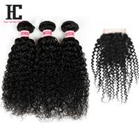 7A Malaysisches Reines Haar Mit Verschluss Unverarbeitetes Menschenhaar 3 Bundles Mit Spitze Verschlüsse Malaysisches Lockiges Haar mit Verschluss HC Haar Produkte