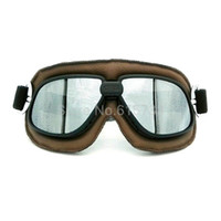 Vintage Pilot Eyewear gespiegelte Linsen Helm Brille Brille Motorrad Goggle Biker Leder für Motorrad Bike ATV Google