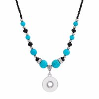 New Beauty National Style Turquoises Beads Snap Necklace 55cm Fit Diy 12mm 18mm Snap Buttons Wholesale Christmas Gift
