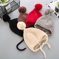 Fashion Baby Beanies with poms Warm and windproof Knit hats ...