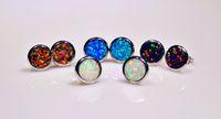 Großhandelseinzelhandels-Art- und Weiseschmucksache-feines blaues / Weiß- / Orange / Brown-Feuer-Opal-Stein-Silber überzogene Ohrringe EAT002