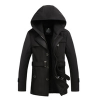 Fall- 2016 Mens Black Red Wool Blend Hooded Trench Pea Coat C...