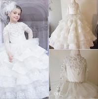 2016 luxuriöse Spitze Kristalle Tiers Ballkleid Blumenmädchenkleider Vintage Kind Pageant Kleider Schöne Blumenmädchen Brautkleider