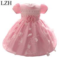 Atacado - lzh baby meninas vestido 2017 crianças menina princesa 1 ano festa de aniversário tutu vestido para bebê traje bebê bebê vestido 0-2 ano