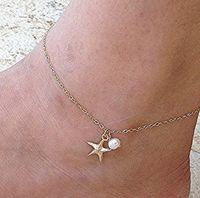 불가사리 진주 발목 팔찌 골드 톤 발목 체인 발 체인 맨발 해변 샌들 고딕 소녀 Anklets