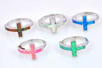 Venta al por mayor moda al por menor fino blanco ópalo de fuego anillo 925 joyería plateada de plata para mujeres EMT1517014