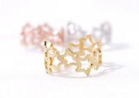 2016 10PCS / lot Moda 18 k anillos chapados en oro Anillos de pentagrama conectados para mujeres Venta al por mayor Envío gratuito