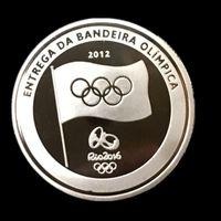 100 pezzi Il nuovissimo Londres 2012 Rio Olimpiadi del 2016 gioco torcia comune placcato argento londra moneta ricordo 40 x 3 mm