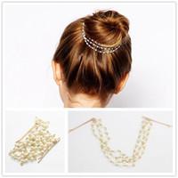 Neue Dame Multilayer Quasten Perlenkette Haarnadel Schüssel Haarschmuck Haar Clip # R58