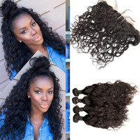 Water Wave Lace Frontal Closure 13x4 With 4 pcs Human Hair B...