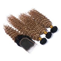 Bal Sarışın Ombre # 1B 27 Derin Dalga Saç Demetleri Ile dantel Kapatma Derin Kıvırcık Brezilyalı Saç Örgüleri Üst Kapatma Ile 4 * 4 Ucuz Fiyat