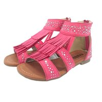 Tassel Gladiator Girls Sandal with Shinning Diamonds Zipper ...