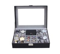8 ساعات المعصم فتحة / ساعة + صندوق مجوهرات صندوق الجلود عرض القضية المنظم الأعلى زجاج تخزين المجوهرات ، DHgate يوصي أفضل صندوق متجر