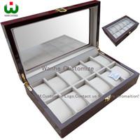 Fabrikverkauf 12 Grids Rectangle 33 * 20 * 8,5 cm Hochwertige Qualität Uhr Aufbewahrungsboxen Fälle Windows uhr zeigen box Uhr Verkäufe Display Boxen
