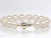 Braccialetto rotondo bianco perla 10-11mm del mare del sud 7.5-8inch 14k oro