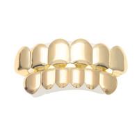 Nuevo ajuste personalizado 14k dientes chapados en oro Hip Hop Hop Hop Hops Top Bottom Grill Set para hombre