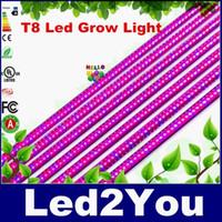 Оптовая 25pcs 2ft 4ft 5ft T8 интегрированная светодиодная трубка растет огни SMD2835 18W 27W 36W крытые гидропонные растения гидропоники растут коробка AC 90-265V