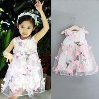 PrettyBaby 2016 Yaz Kız Elbise Pamuk 3d Kelebek Çiçek Kız Elbiseler Için Parti Düğün Bebek Giysileri Çocuklar Prenses yelek gazlı bez Elbise