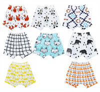 4pcs Summer Fox Panda Cartoon Pattern Kids Shorts Brar Plaid...