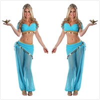 Sexy Women Belly Dancing Costumes Transparent Chiffon Sequin...