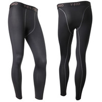 Toptan-Yeni erkek sıkıştırma taban katmanı pantolon uzun süre cilt altında sportswear dişli alt