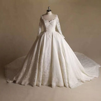 Real Made Winter Ball Gown Lace Long Sleeve Wedding Dresses ...