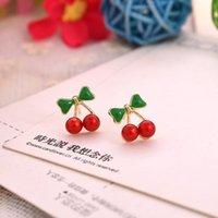 Bolzen-Ohrringe Großhandelsförderung überzogene koreanische rote Kirschkristallrhinestone-Blatt-Tropfen-Ohrringe Recht Statement Ohrringe