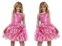 2015 Pailletten Pre Teen Kurze Volle Perlen Rosa Mädchen Festzug Kleider Falten Knielangen Little Kids Große Mädchen Party Kleider