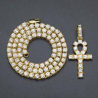 Ankh egipcio collares dominantes para hombre Bling chapado en oro cadena Rhinestones Crystal Cross Iced Out colgante para mujer Rapper Hip Hop joyería