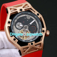 43MM luxury titanium gold case fashion watch red and black r...
