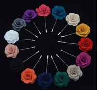 En gros 50pcs / lot Taille 9cm Tissu Revers Fleur Camélia À La Main Boutonnière Broche Pins Accessoires Pour Hommes Bijoux De Mode Décorations