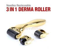 3 In 1 Kit Derma Roller Titanium Micro Nadelwalze 180 600 1200 Nadeln Haut DermaRoller für Körper und Gesicht 0,5 1,0 1,5 mm Nadeln