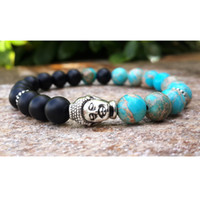 Erkek Buda Mala Bilezik, Blue Sea Manyezit Jasper Siyah Oniks Bohemian Budist Namaz Koruma Meditasyon Bilek Mala Erkekler Bilezik