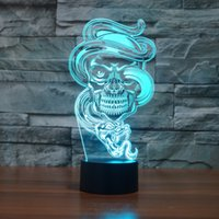 2017 Halloween Skull Lamp 3D Optical Lamp Night Light Night ...