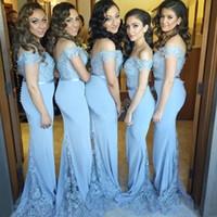 2019 pas cher modeste robes de demoiselle d'honneur de l'épaule de mariage pour la dentelle de mariage perlé sirène robe de fête de fête avec des boutons Maid Honor Robes