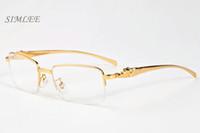 2017 lüks tasarımcı mens için çerçevesiz buffalo boynuz boynuz gözlük altın leopar çerçeveleri yarı çerçevesiz yeni varış güneş kadınlar gözlük