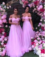 Elegante Rosa Lange Brautjungfernkleider Spitze Applikationen Schulterfrei Brautjungfer Party Kleider Tüll A Line Bodenlangen Hochzeitsgast Kleid 2017