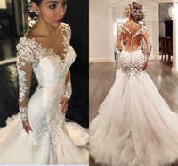 2018 Newest Mermaid Wedding Dresses Jewel Neck Long Sleeves ...
