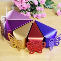 13 * 6 * 6 cm schmetterling Dreieck papier süßigkeiten Kuchen schokolade geschenk-boxen für hochzeit geburtstagsfeier bevorzugungen Dhl-freies Verschiffen