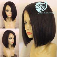 Brezilyalı İnsan Saç Bob Peruk 130% -150% Yoğunluk Orta Yan Brezilyalı Saç Dantel Ön Peruk Siyah Kadınlar Için