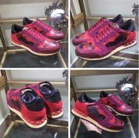 2017 Perfect Rock Runner camuflaje zapatillas de cuero zapatos de los hombres, mujeres estilo de lujo Rock Studs al aire libre CAMUSTARS zapatillas de deporte ocasionales ZAPATOS 36-46