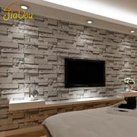 Gestapelte Ziegelstein-3D Steintapete moderne Wallcovering PVC-Rollen-Tapeten-Backsteinmauer-Hintergrund-Tapete Grau für Wohnzimmer