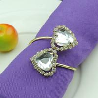 Coração em forma de Cristal Que Bling Pingente de Strass Anéis De Guardanapo de casamento Banhado A ouro guardanapo de casamento para Banquete de Casamento Decoração de Mesa Accessorie