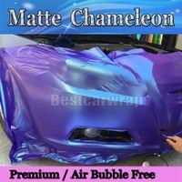 Matt Chameleon Blå / Lila Vinyl Wrap med Air Free Metallic Matt Chameleon Flip Flop Wrap Stying Covering 1.52x20m / Roll Fri frakt