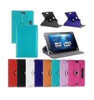 7 8 9 10 pulgadas Estuche de cuero con lengüeta 360 grados Girar cubierta protectora del soporte para Tablet PC Fold Flip Funda Hebilla para tarjeta incorporada