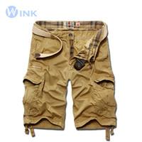 All'ingrosso-Nuovi uomini di marca casual tinta unita bermuda sciolto pantaloncini cargo masculina di grandi dimensioni disegno multi-pocket tuta 4 colori A057
