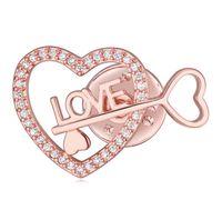 여성 패션 브로치 패션 럭셔리 절묘한 고품질 지르콘 18K 골드 도금 사랑의 하트 브로치 핀 도매 드롭 배송 TB011