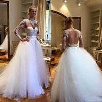 Real Photo 2016 Berta White Lace Long Sleeve Backless Weddin...