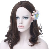 Hair Medium Wig Brown Wavy Synthetic Wigs For White BlackWom...