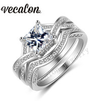 Vecalon Brand 2016 New Princess cut 2ct Cz Simulated diamond 10KT White Gold Filled Engagement Wedding Ring Set for Women